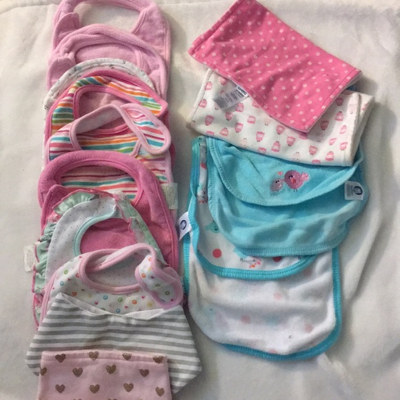 Other - Baby girl bibs & burp cloths.